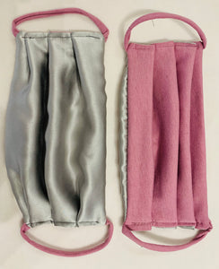 Face Mask Silk Silver and Pink Organic Soy Cotton