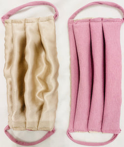 Face Mask Silk Champagne Pink and  Pink Organic Soy Cotton