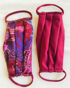 Face Mask Silk Purple Paisley and Red Organic Soy Cotton