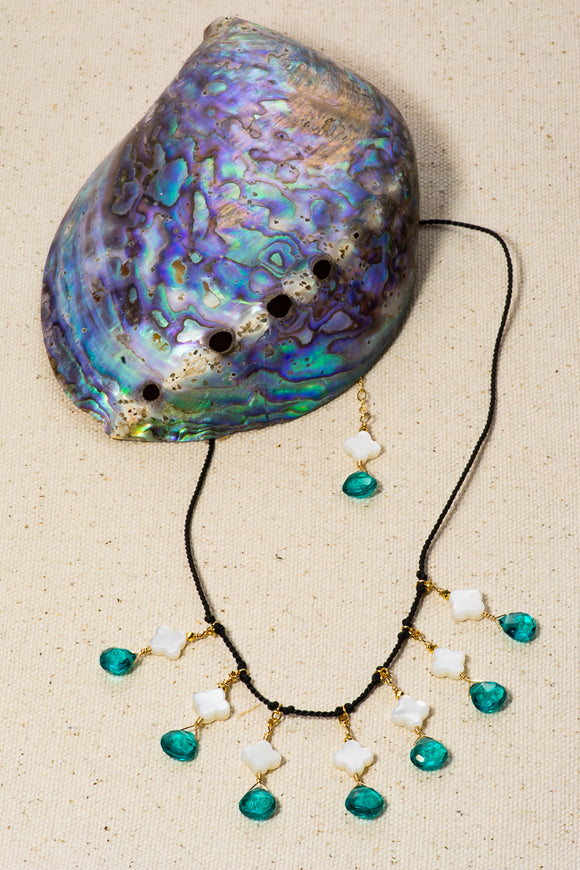 Apatite and mother of pearl necklace