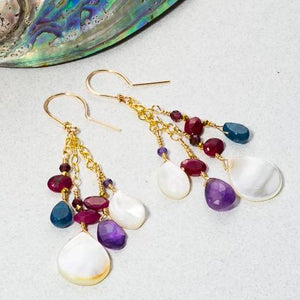 Mother of Pearl and natural gemstone earrings