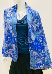 Doubled Silk Charmeuse In Blue Paisley