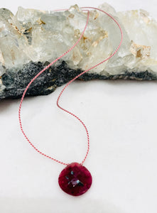 Faceted Ruby Briolette Single-Drop Necklace