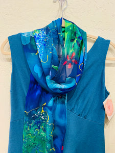 Hand Painted Silk Devore Scarf