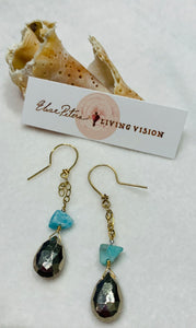 Pyrite and Larimar Earrings