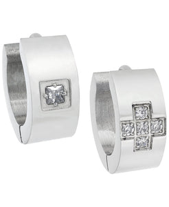 Sutton Stainless Steel and Cubic Zirconia Huggie Earring Set