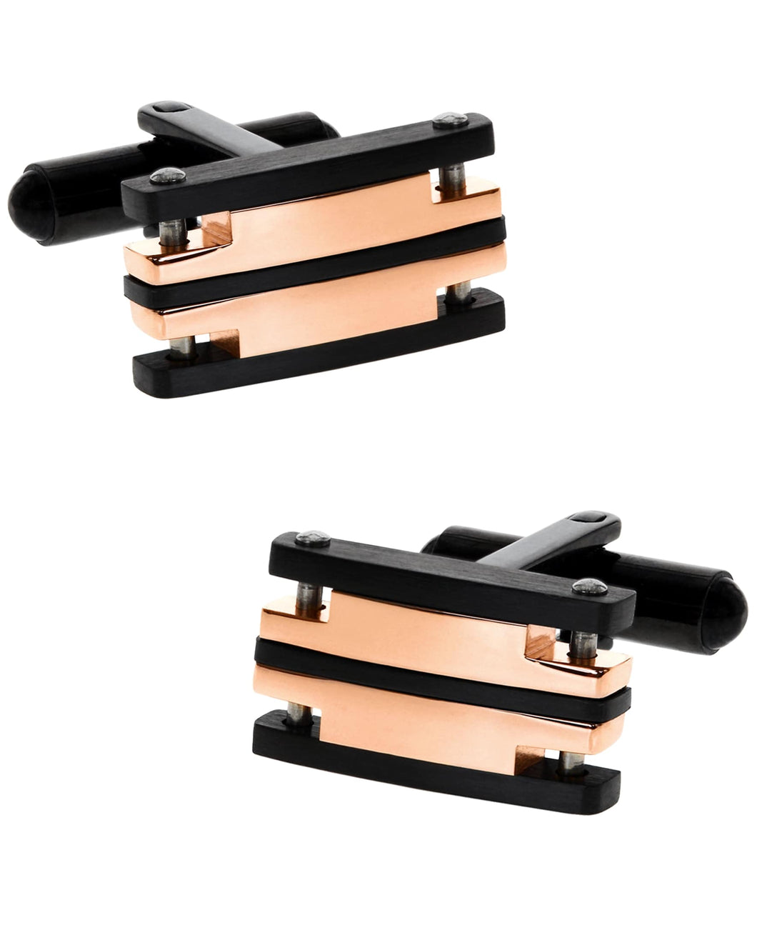 Sutton Stainless Steel Black and Rose Gold Cufflinks