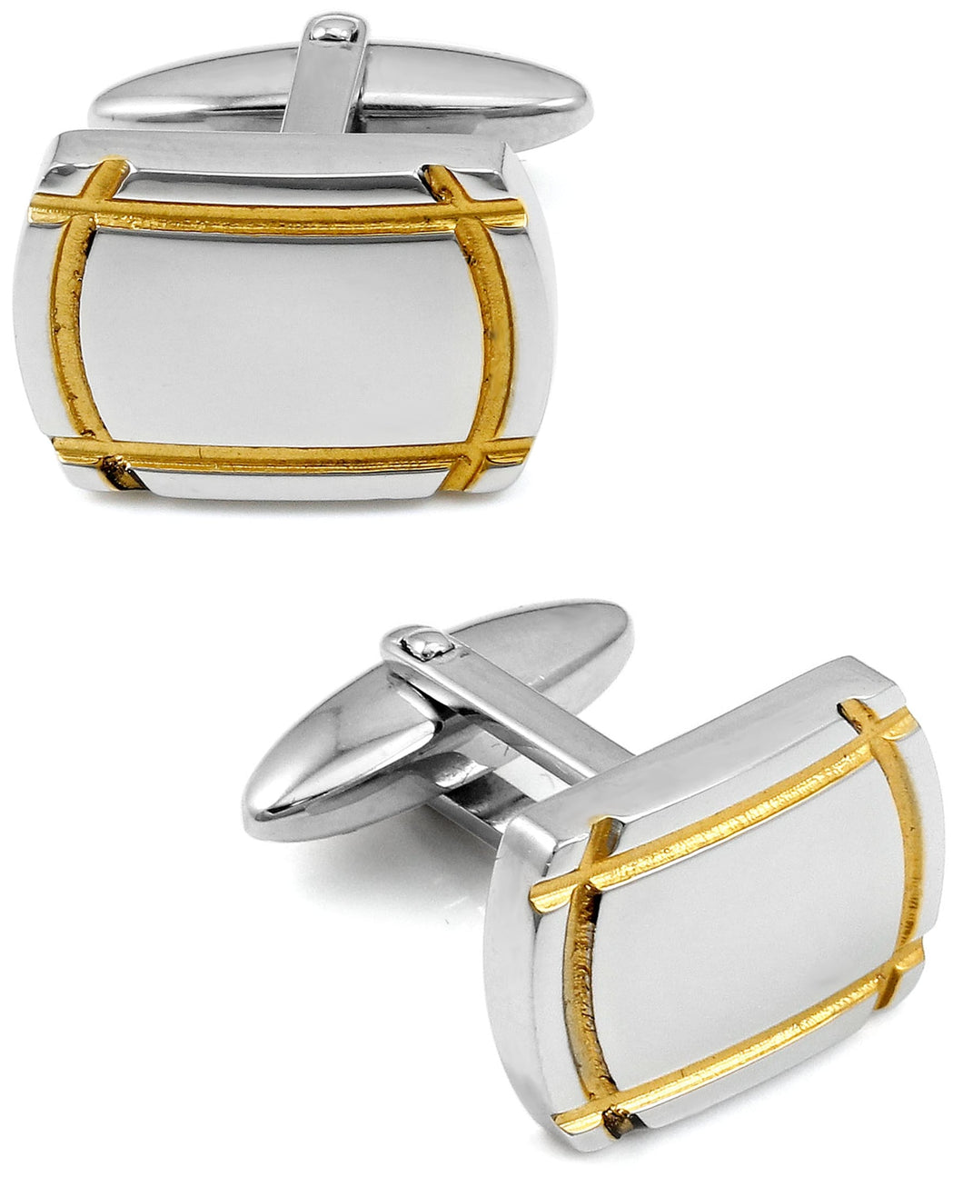 Sutton Sterling Silver Cufflinks With Gold Trim
