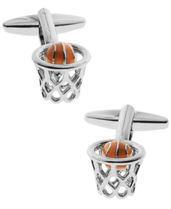 Sutton Silver-Tone Basketball Cufflinks