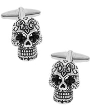 Load image into Gallery viewer, Sutton Silver-Tone Cubic Zirconia Sugar Skull Cufflinks