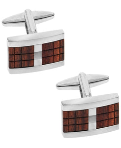 Sutton Silver-Tone Wood Inset Cufflinks