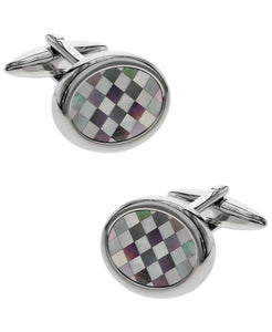Sutton Silver-Tone Checkered Mother of Pearl Cufflinks