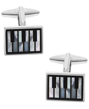 Sutton Silver-Tone Mother of Pearl Piano Keys Cufflinks