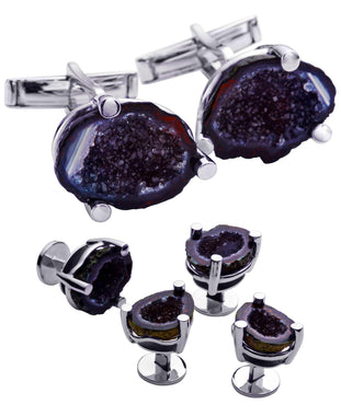 Sutton Sterling Silver Geode Cufflink and Tuxedo Button Set