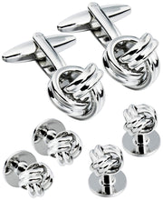 Load image into Gallery viewer, Sutton Silver-Tone Knot Cufflink and Tuxedo Button Set