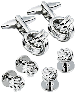 Sutton Silver-Tone Knot Cufflink and Tuxedo Button Set