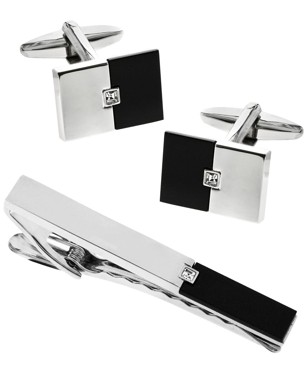 Sutton Stainless Steel and Black Cufflinks and Tie Clip Set