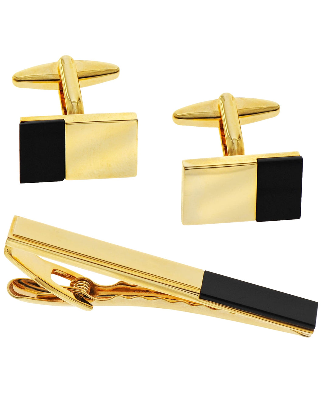 Sutton Gold-Tone Stainless Steel and Black Cufflinks and Tie Clip Set