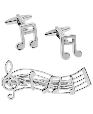 Sutton Silver-Tone Music Note Cufflinks and Tie Clip Set