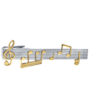 Sutton Silver and Gold-Tone Music Note Tie Clip
