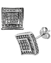 Load image into Gallery viewer, Sutton Sterling Silver Cubic Zirconia Double Squares Stud Earrings