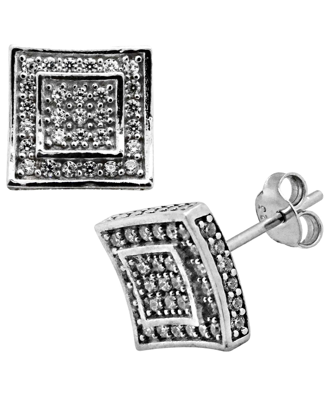 Sutton Sterling Silver Cubic Zirconia Double Squares Stud Earrings