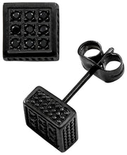 Load image into Gallery viewer, Sutton Stainless Steel Black Cubic Zirconia Square Stud Earrings