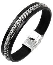 Load image into Gallery viewer, Sutton Stainless Steel Leather Bracelet with Chain Detail