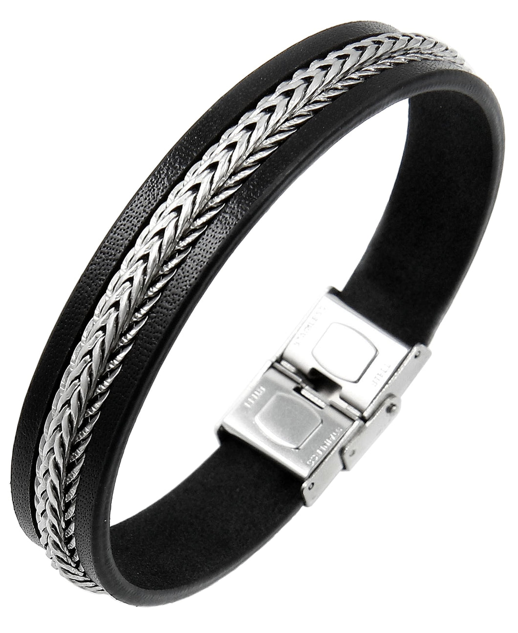 Sutton Stainless Steel Leather Bracelet with Chain Detail