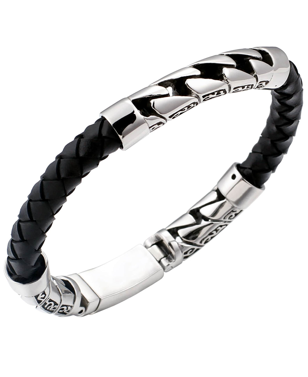 Sutton Stainless Steel Filigree and Braided Leather Bracelet