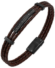 Load image into Gallery viewer, Sutton Stainless Steel And Braided Leather Bracelet With Cubic Zirconia Stations