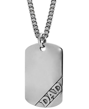 Sutton Sterling Silver Dad Dog Tag Pendant Necklace