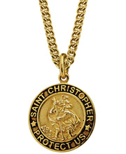 Load image into Gallery viewer, Sutton Gold Plated Sterling Silver Saint Christopher Pendant Necklace