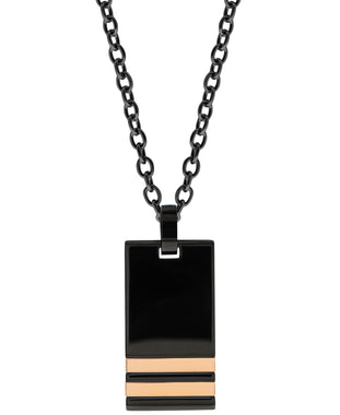 Sutton Stainless Steel Black Pendant Necklace with Double Rose Gold St