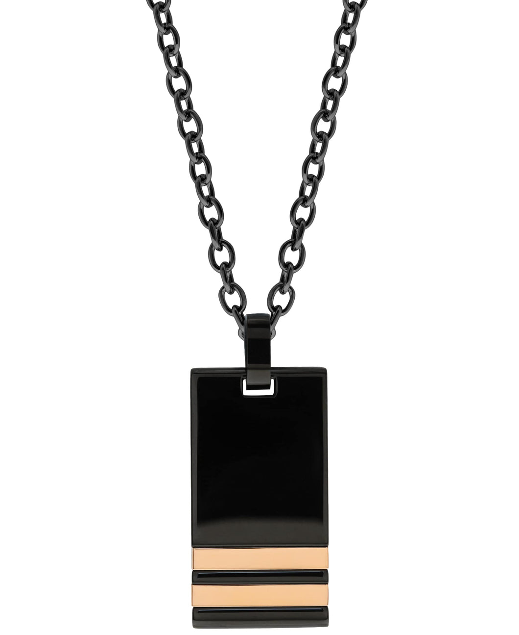 Sutton Stainless Steel Black Pendant Necklace With Double Rose Gold Stripe