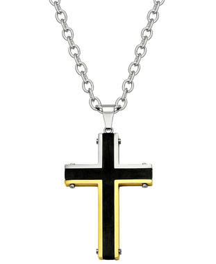 Sutton Stainless Steel Tri-Tone Cross Pendant Necklace