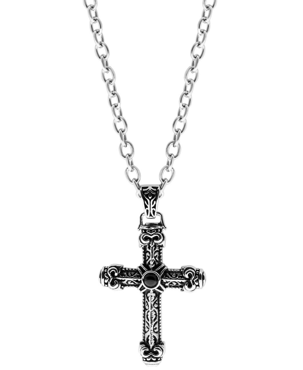 Sutton Stainless Steel Antique Cross Pendant Necklace