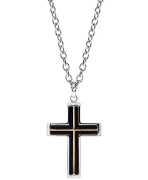 Sutton Tri-Tone Stainless Steel Cross Pendant Necklace