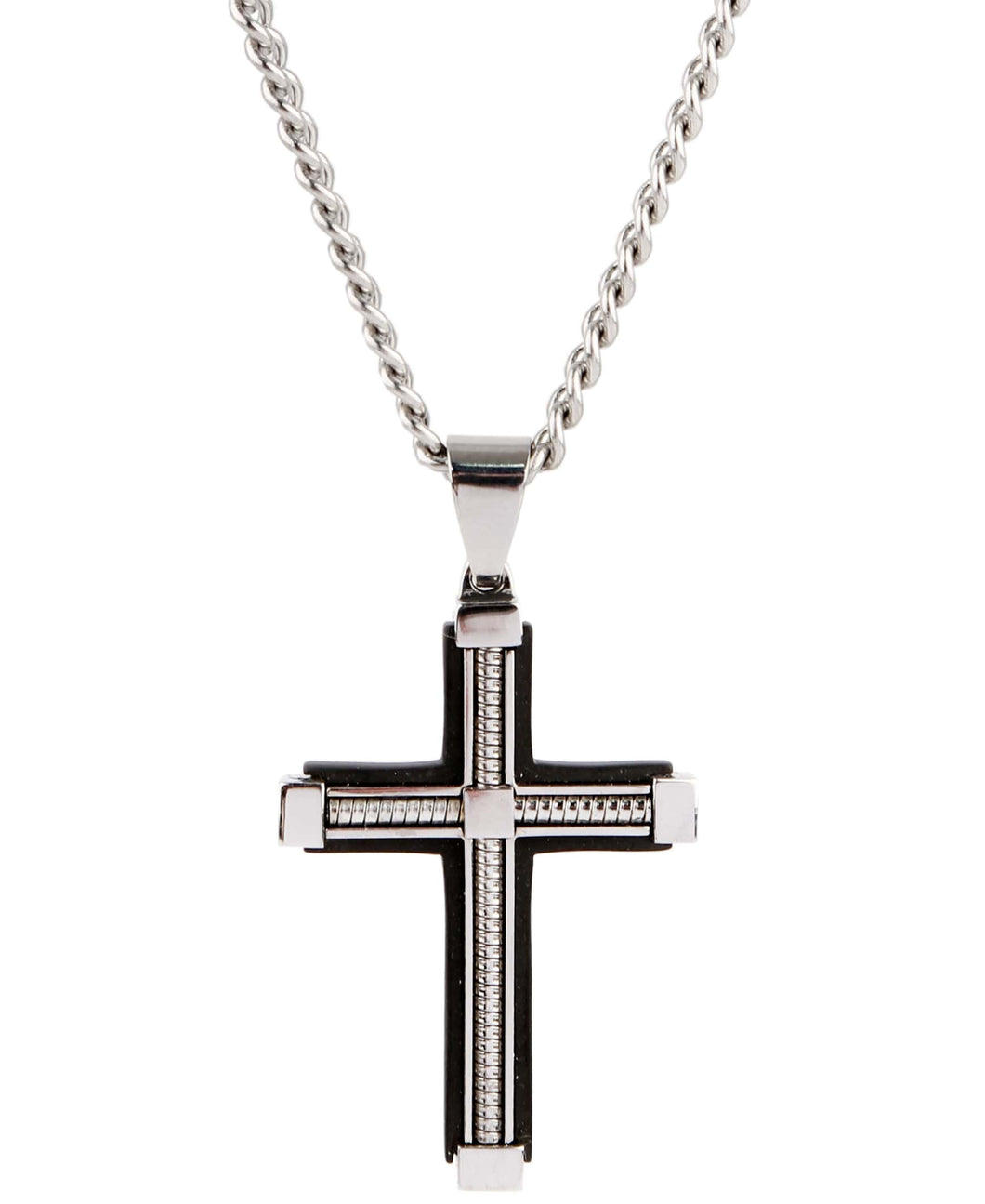 Sutton Stainless Steel Cable Cross Pendant Necklace