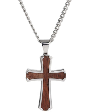 Sutton Stainless Steel Wood Inset Cross Pendant Necklace