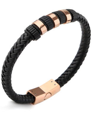 Sutton Two-Tone Stainless Steel Braided Leather Station Bracelet