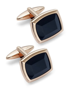 Sutton by Men's Rose Gold-Tone Stainless Steel and Jet Stone Cuff Links
