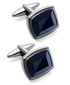 Men's Stainless Steel and Jet Stone Cuff Links