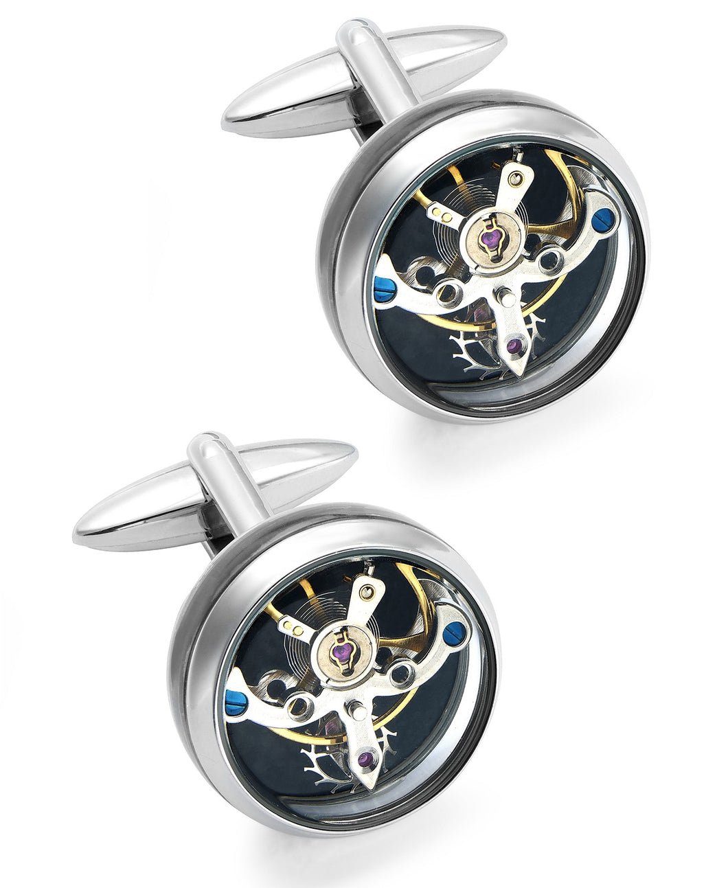 Men's Stainless Steel Clock Cuff Links