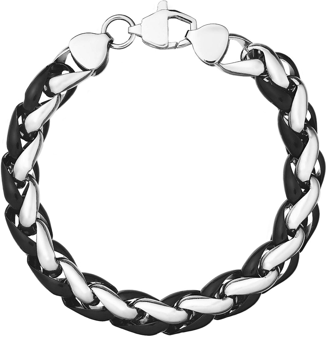 Men's Black-Tone Stainless Steel Chunky Chan Bracelet
