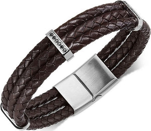 Men's Stainless Steel Braided Leather and Cubic Zirconia Three-Row Bracelet