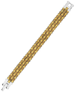 Sutton Stainless Steel Gold-Tone Three Row Studded Link Bracelet