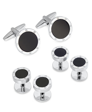 Sutton by Men's Silver-Tone Black Stone 2-Pc. Set Cuff Links
