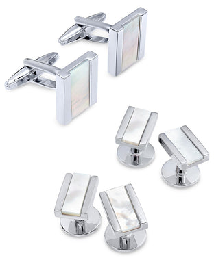 Men's Stainless Steel Mother-of-Pearl Stone Cuff Links