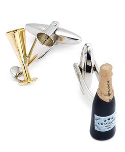 Men's Two-Tone Champagne Flute and Bottle Cuff Links
